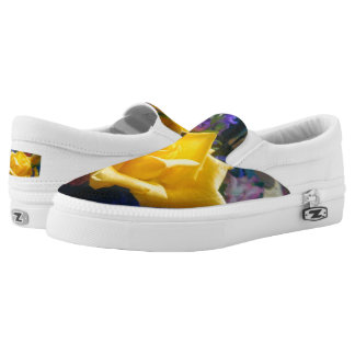 Yellow Rose Zipz Slip On Shoes, US Women Printed Shoes