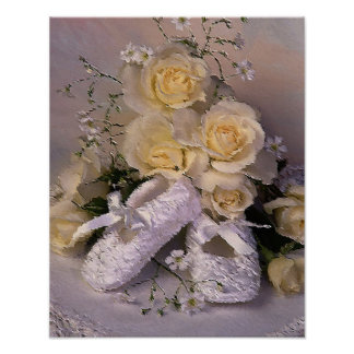 yellow roses and baby shoes poster