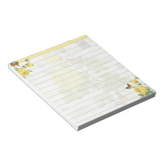 Yellow roses and butterflies notepad