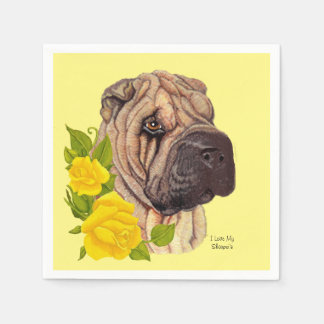 Yellow Roses and Chinese Shar-pei Paper Serviettes