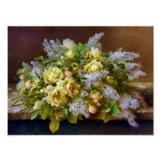 Yellow Roses and Lilacs Poster