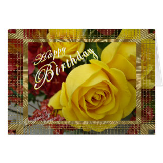 Yellow Roses Birthday-customize Card