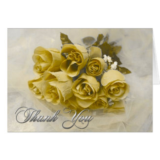Yellow Roses Bouquet Thank You Note Card