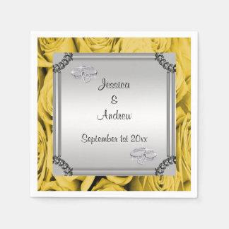 Yellow Roses & Diamond Wedding Rings Paper Serviettes