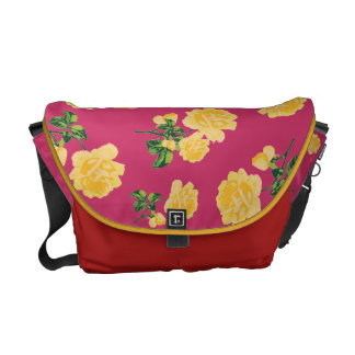Yellow roses Floral pattern on red bag Messenger Bag