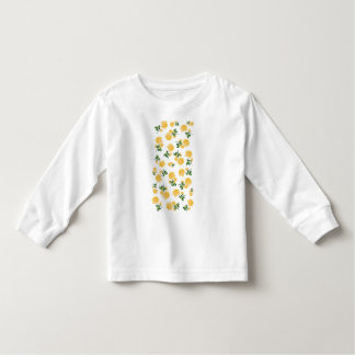 Yellow roses Floral pattern on white T-shirt
