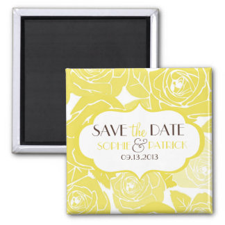 Yellow Roses Floral Pattern Save the Date Magnet