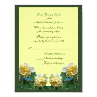 Yellow Roses Flower Wedding Response RSVP 4.25x5.5 Paper Invitation Card