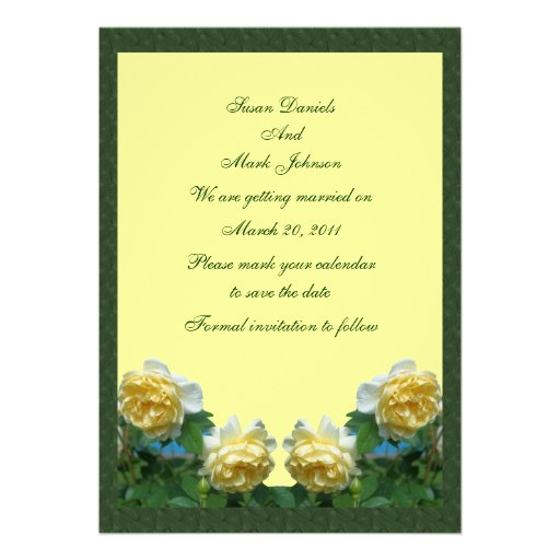 Yellow Roses Flower Wedding Save The Date Custom Invitations