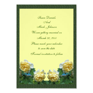 Yellow Roses Flower Wedding Save The Date 5x7 Paper Invitation Card