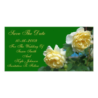 Yellow Roses Flower Wedding Save The Date Personalised Photo Card