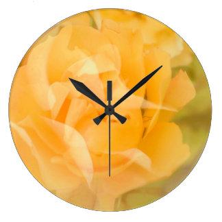 Yellow roses large clock