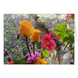 Yellow Roses & Lavendar Sprigs CARD