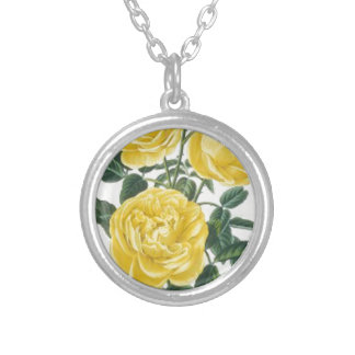 Yellow Roses Mother's Day Card Silver Plated Necklace