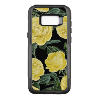 yellow roses on black OtterBox commuter samsung galaxy s8+ case