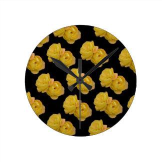 Yellow Roses On Black,_ Round Clock