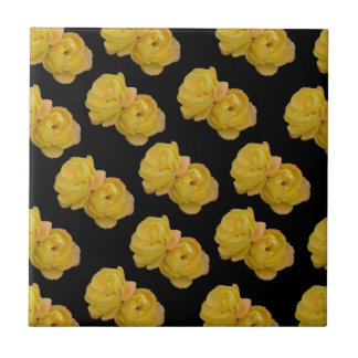 Yellow Roses On Black,_ Tile