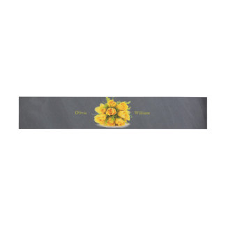 Yellow Roses on Chalkboard - Belly Band Invitation Belly Band