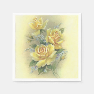 Yellow Roses Paper Napkins