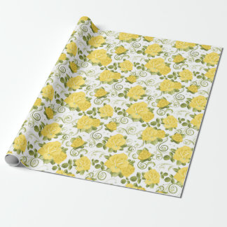 Yellow Roses Patterned Wrapping Paper