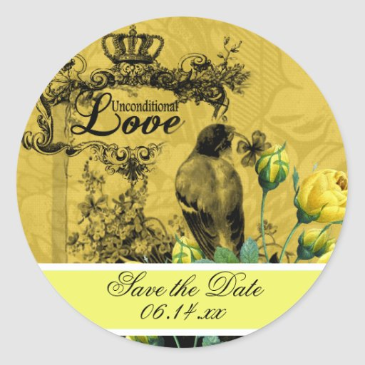 Yellow Roses Save the Date Stickers