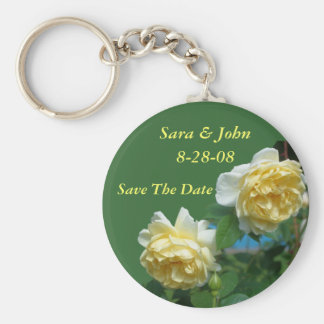 Yellow Roses Save The Date Wedding Favor Keychain
