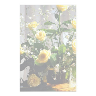 Yellow roses stationery paper