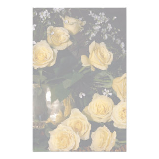 Yellow roses customized stationery