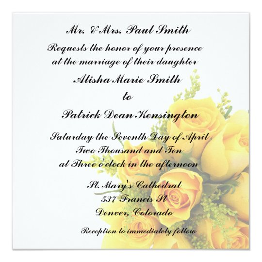 Yellow Roses Wedding Invitation Announcement
