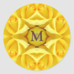 Yellow Roses Wedding Monogram Round Sticker