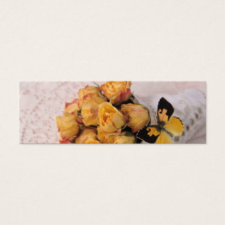 yellow roses with butterfly bookmark mini business card