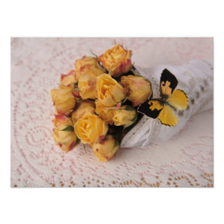 yellow roses with butterfly small poster