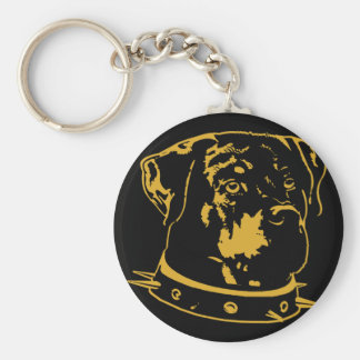 Yellow Rottweiler Illustration Basic Round Button Key Ring