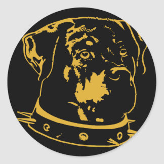 Yellow Rottweiler Illustration Round Sticker