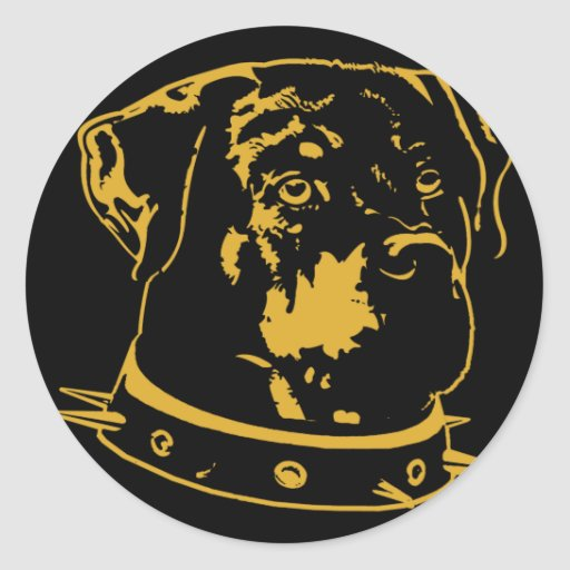 Yellow Rottweiler Illustration Round Sticker
