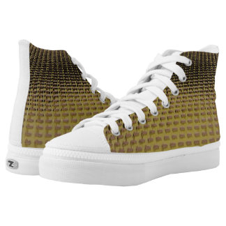 Yellow Rough Square Pattern Zips High Top Shoes Printed Shoes