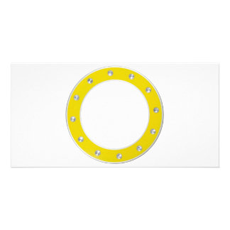 Yellow round frame personalized photo card