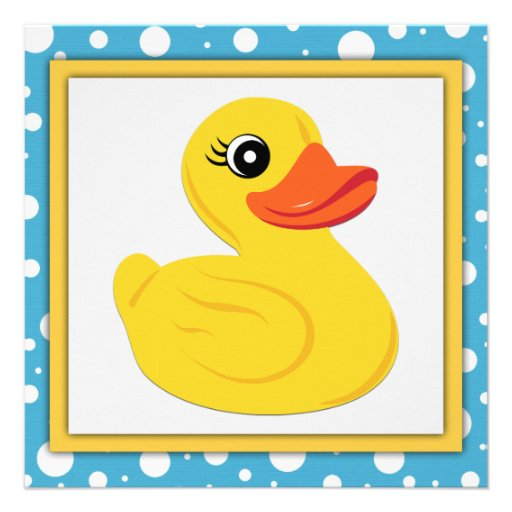 Yellow Rubber Duck Baby Shower Personalized Announcement