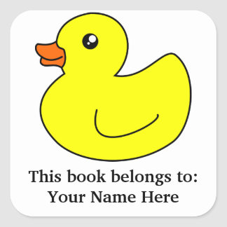 Yellow Rubber Duck Book Plate Stickers