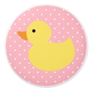 Yellow Rubber Duck Polka Dots Ceramic Knob