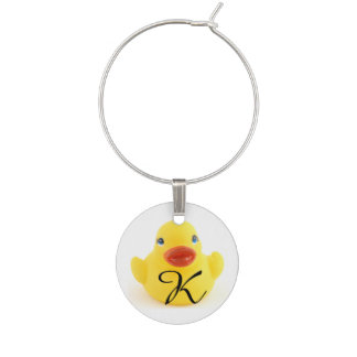 Yellow Rubber Duck Toy with Initial Wine Charm