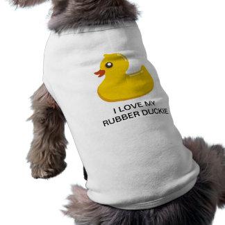 Yellow Rubber Duckie Graphic Art Sleeveless Dog Shirt