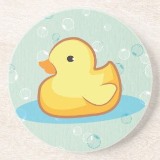 yellow Rubber duckie with bubbles coaster