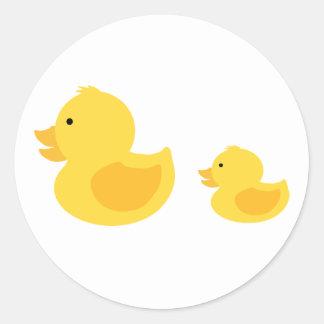 Yellow Rubber Duckies Neutral Baby Shower Round Sticker