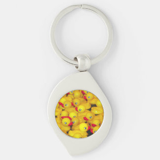 Yellow rubber duckies print key chain Silver-Colored swirl key ring