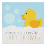 Yellow Rubber Ducky Bubble Bath Baby Shower Poster