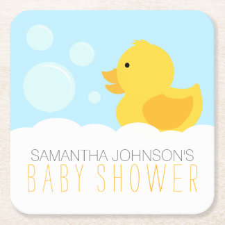 Yellow Rubber Ducky Bubble Bath Baby Shower Square Paper Coaster
