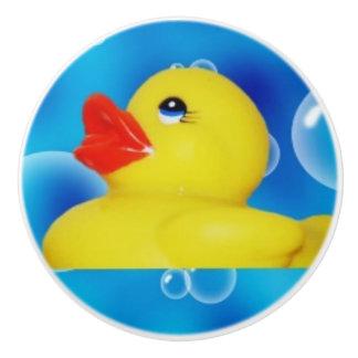Yellow Rubber Ducky in Bubbles Ceramic Knob
