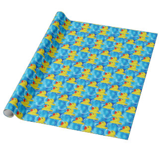 Yellow Rubber Ducky in Bubbles Wrapping Paper
