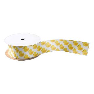 Yellow Rubber Ducky Pattern Satin Ribbon